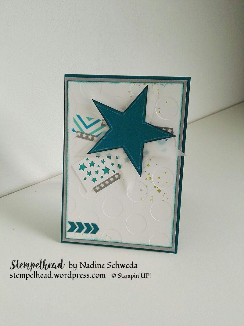 Stampin UP! Glückwünsche Geburt / Geburtstag, Sterne, Petrol, Bermudablau, Schiefergrau