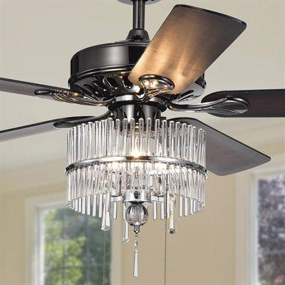 Warehouse Of Tiffany Ceiling Fan Cfl 8317pb Bilhah 3 Light 5 Blade 52 In Black Ceiling Fan