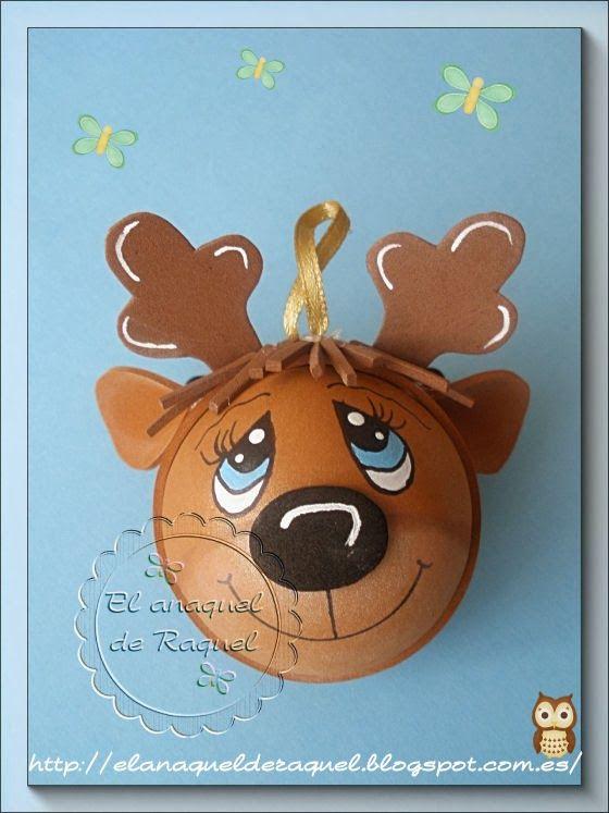 Bola esfera arbol navidad reno fofuchas goma eva foamy for Manualidades renos navidenos