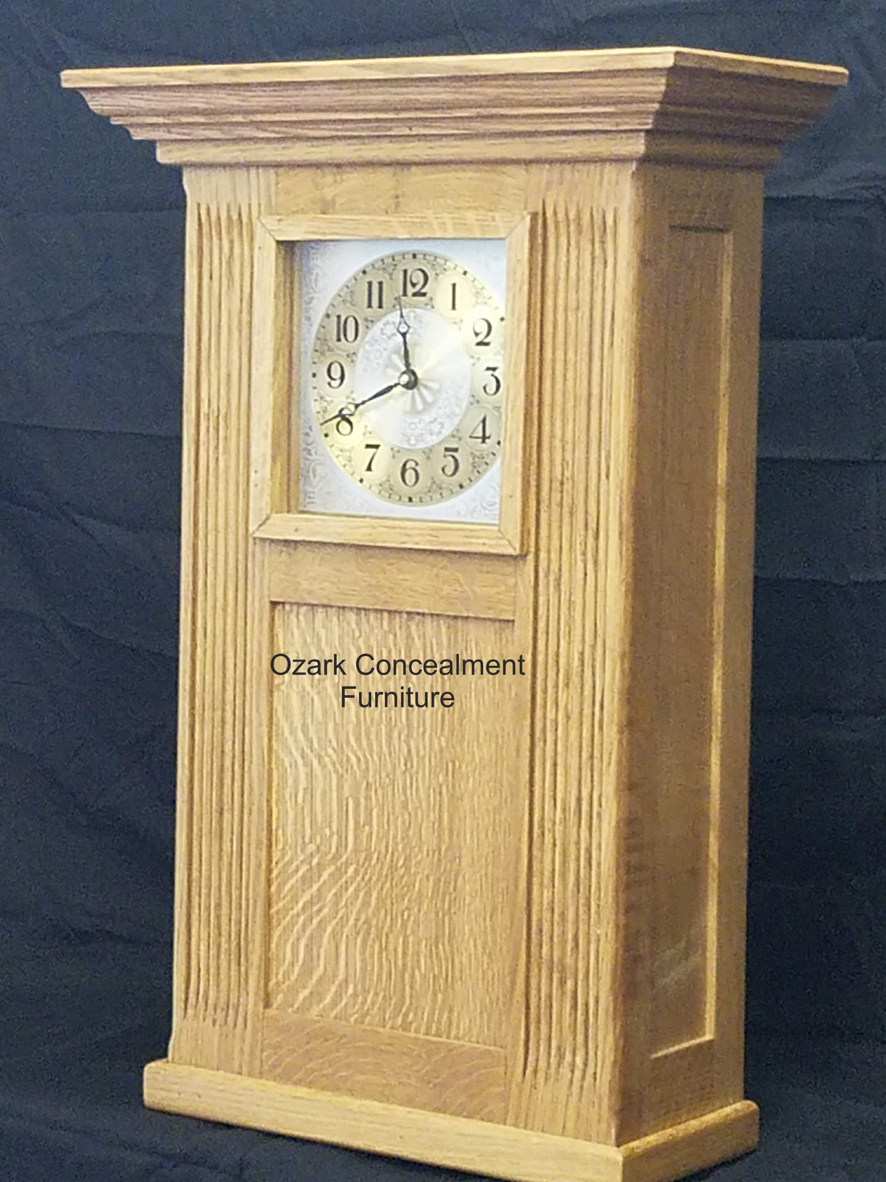 This particular concealment clock is made of quartersawn