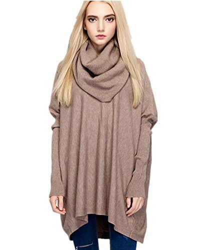 MML Womens Turtleneck Long Sleeve Loose Knit Top Cable Pullover Sweaters