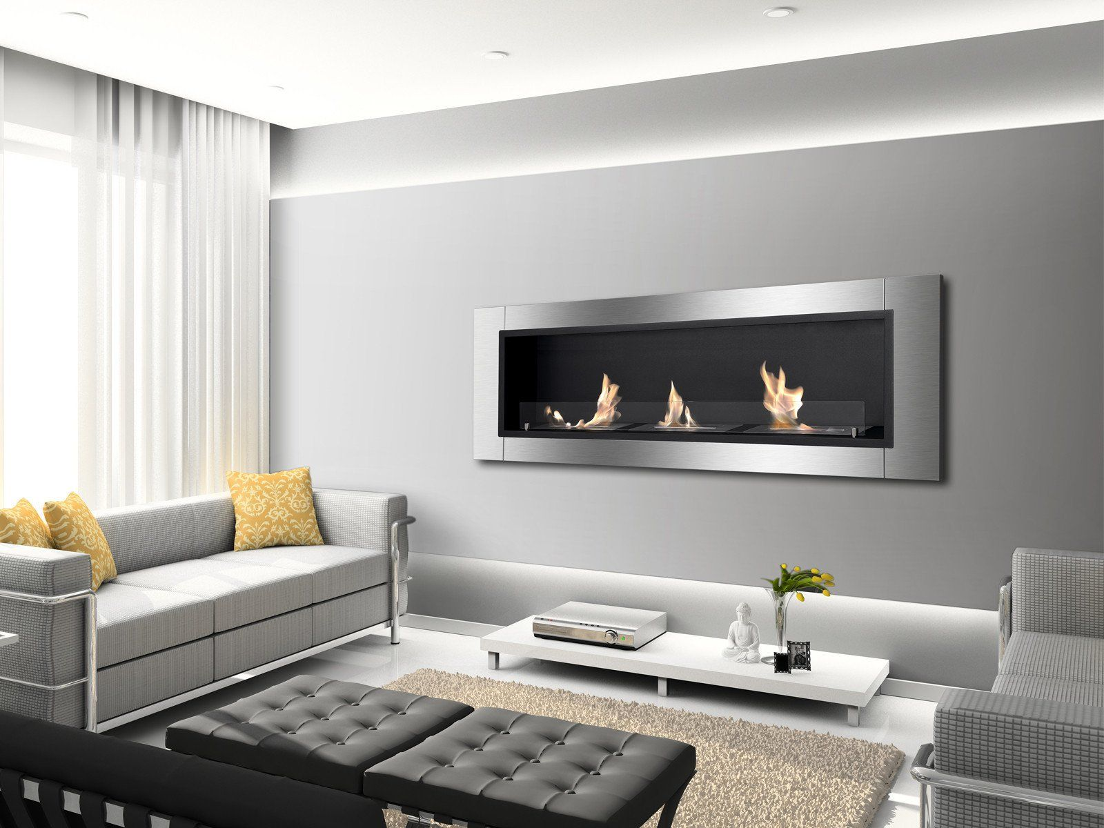 "Ignis Ardella - 55"" Built-in/Wall Mounted Ethanol Fireplace (WMF-0222)"