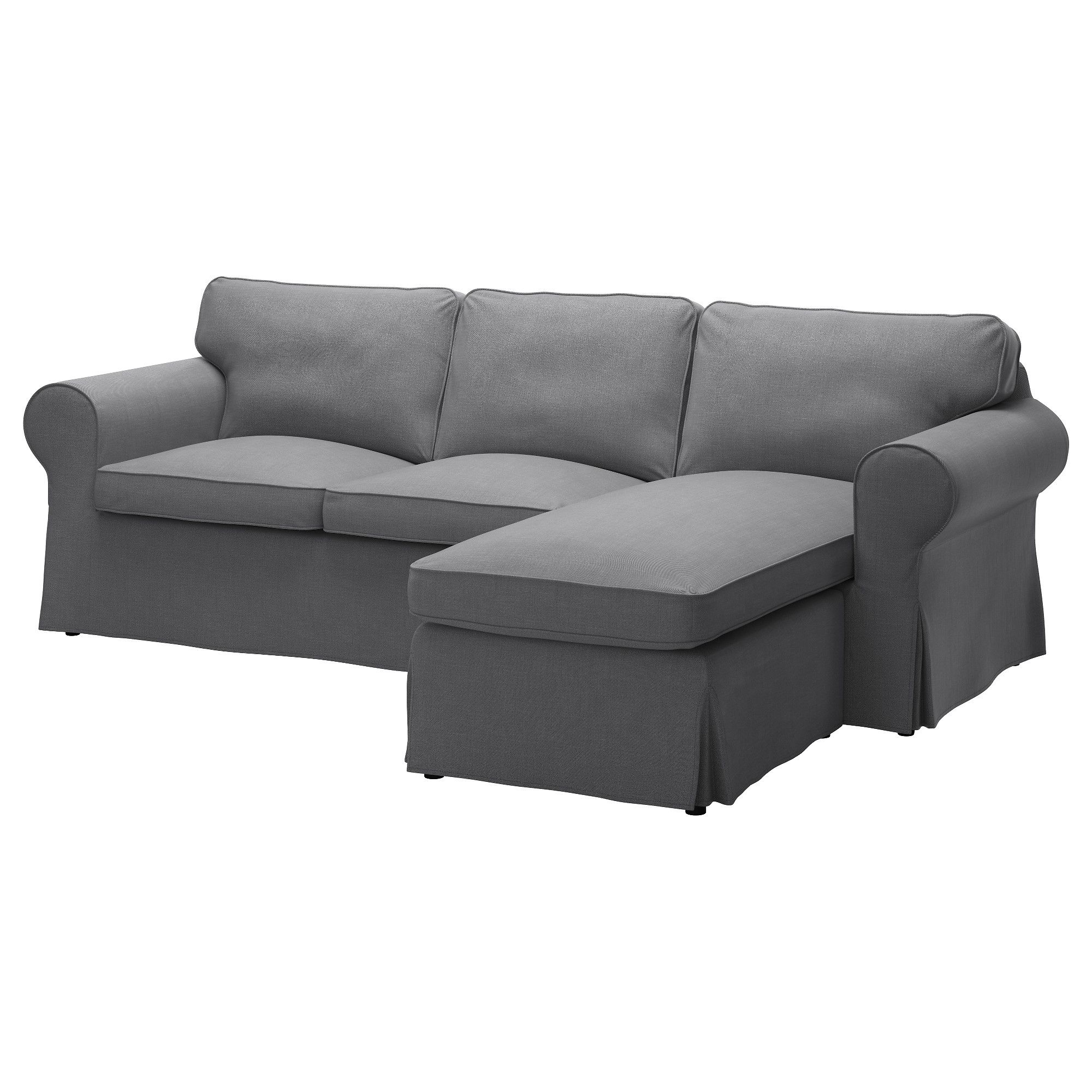 EKTORP Bezug 2er Sofa mit Récamiere Nordvalla dunkelgrau