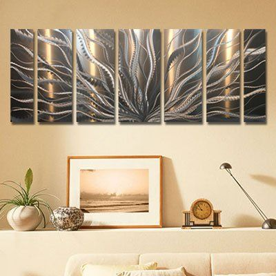 """Large Electrifying Silver Etched Abstract Metallic Art Wall Panel - Contemporary Metal Wall Sculpture, Home Decor, Modern Home Accent - Galactic Expanse by Jon Allen - 68"""" x 24"""" Jon Allen Metal Art - Statements2000 http://smile.amazon.com/dp/B00KRNU3FC/ref=cm_sw_r_pi_dp_ZcHWwb1BHP8CG"""