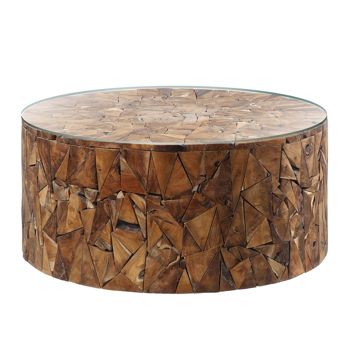 Triangular Pieces Of Beautiful Teak Wood Fit Together To Form This Round Coffee Table Complete With Glas Coffee Table Types Of Coffee Tables Dining Table Legs [ 1200 x 1200 Pixel ]