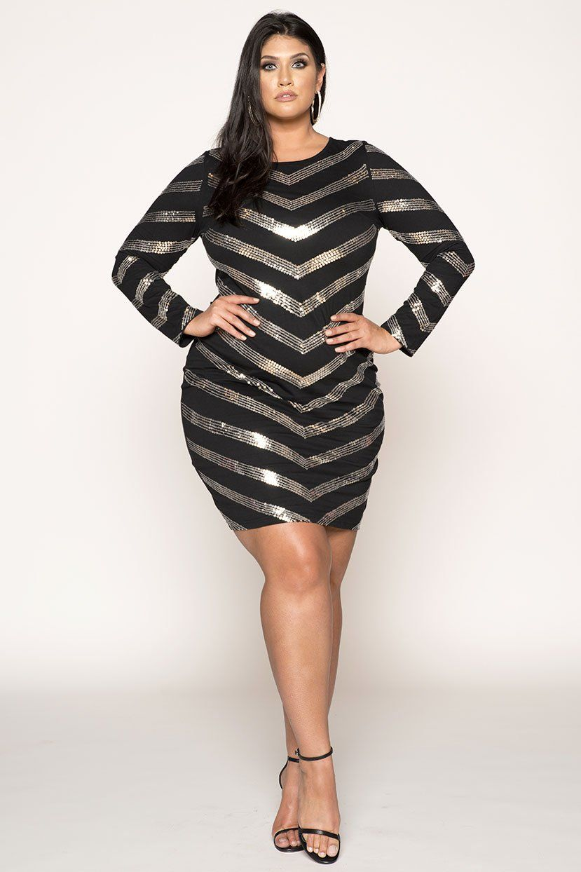 Plus Size Dress for Party | Black Dazzle Sequin Plus Size