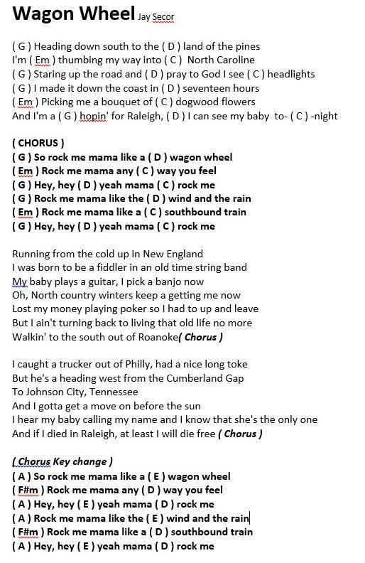 wagon wheel lyrics and chords youtube - Google Search : lyrics and chords : Pinterest : Wagon ...