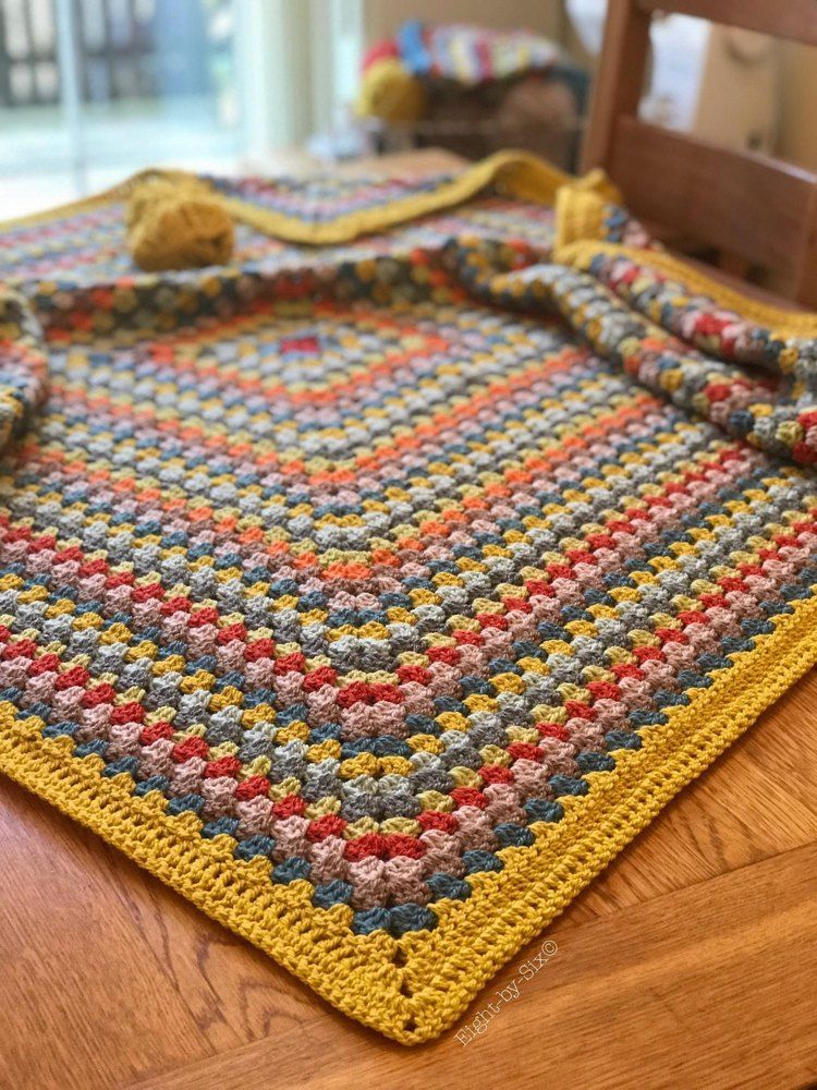 Mustard Granny Square Blanket Crochet pattern by Eight-by-Six