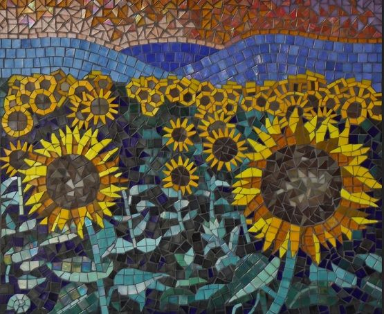 Bathroom Tile Backsplash Ideas Sunflower Mosaic Mosaic Wall Art