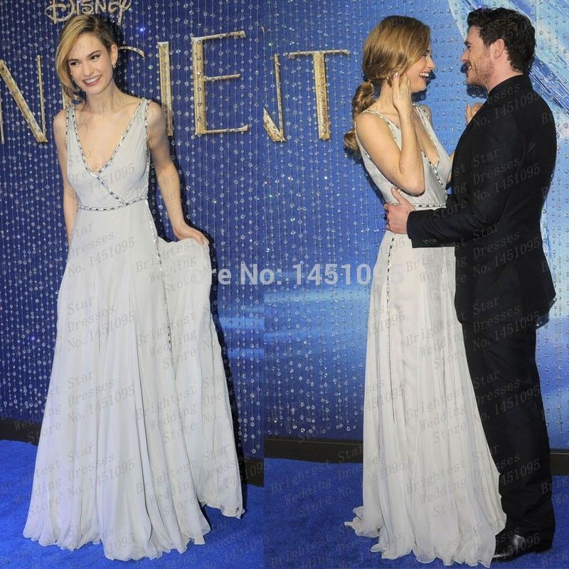 Find More Prom Dresses Information about Lily James V Neck Beaded ...