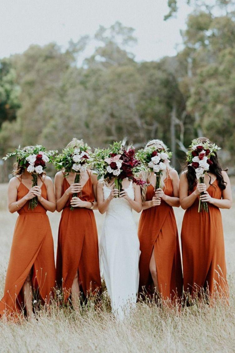 20 Vintage Sunset Orange Wedding Color Ideas Burnt Orange Bridesmaid Dresses Orange Bridesmaid Dresses Orange Bridesmaid [ 1125 x 750 Pixel ]