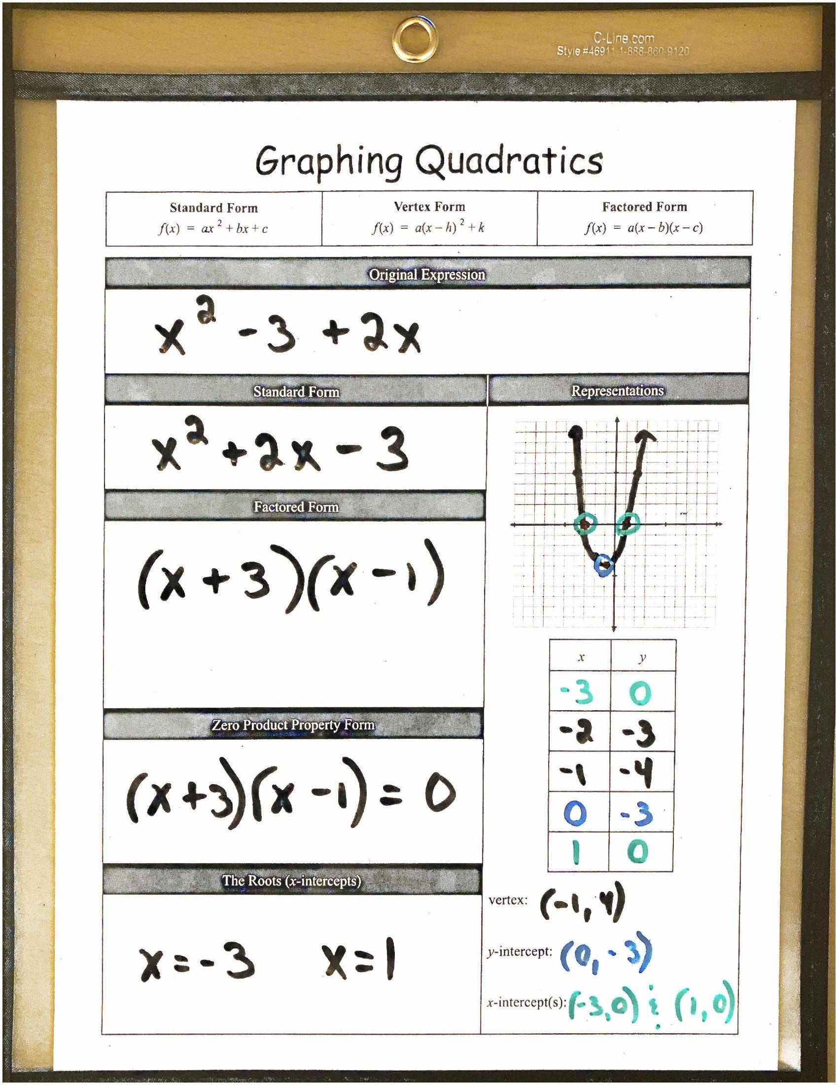 Algebra 1 Reusable Dry Erase Pocket Guides Graphing Quadratics Algebra 1 Literal Equations