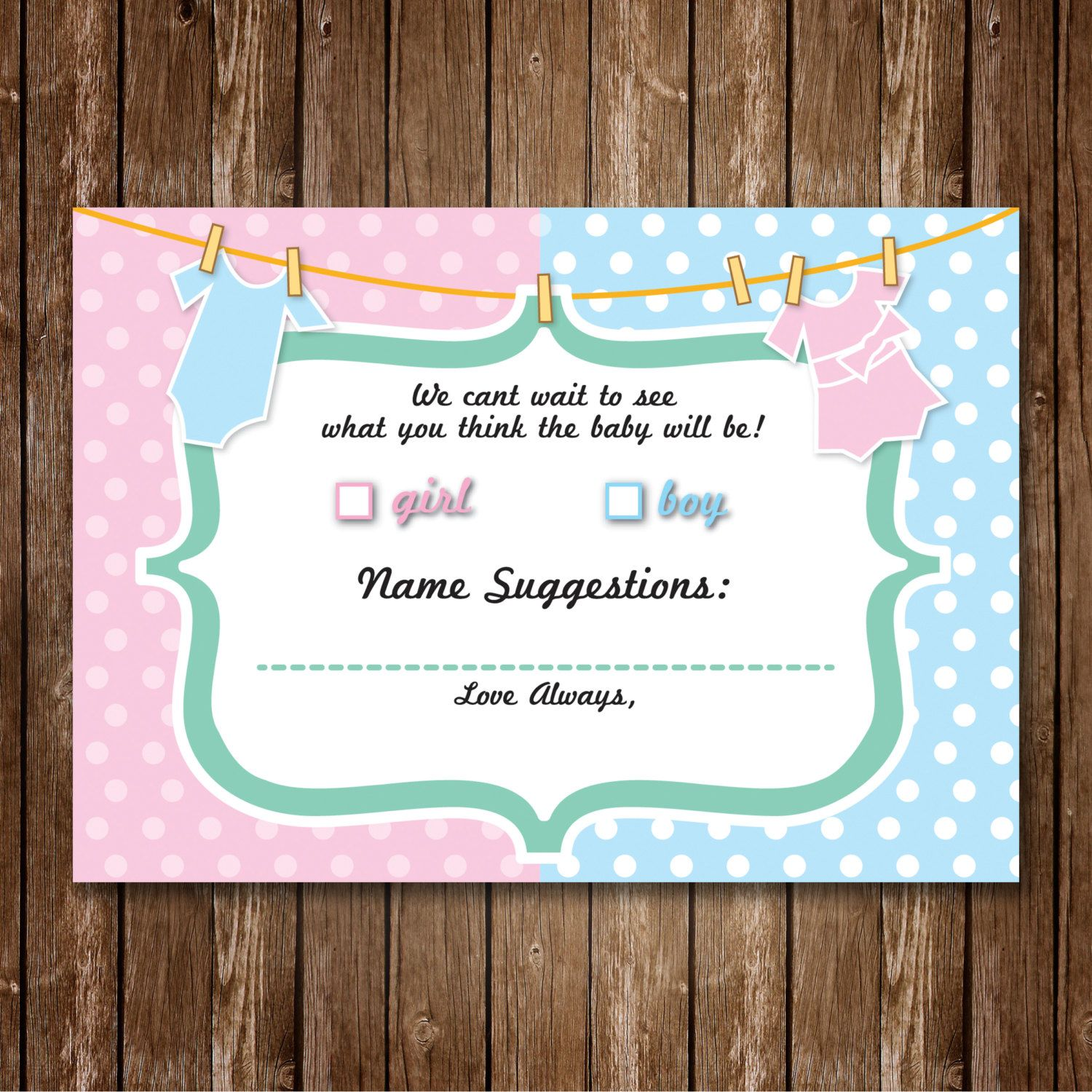 Prediction Cards Gender Reveal Party/Baby Shower Game