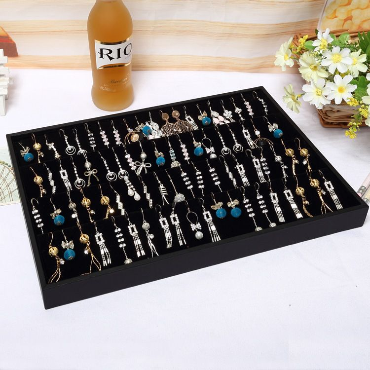 Portable Earring Display Organizer Black Velvet Showing Tray Earrings Holder Storage Bo Jewelry Showcase Boucles