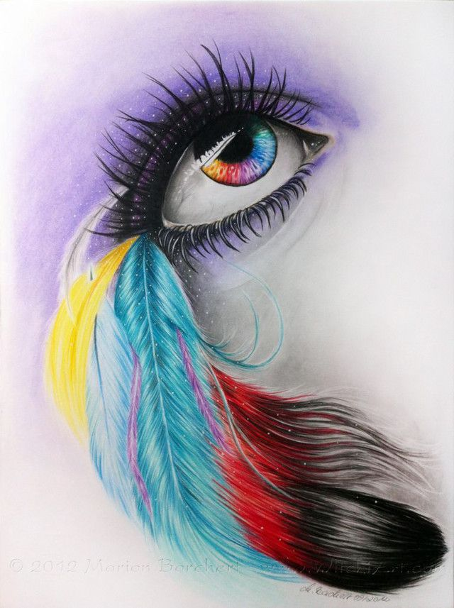 color pencil drawings | Color feather eye by witchi1976 | Shadowness