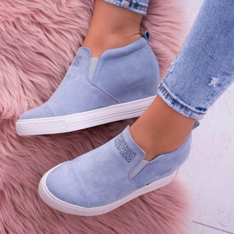 Letter Slip On Faux Suede Wedge Heel Sneakers  f56e0bbc57b