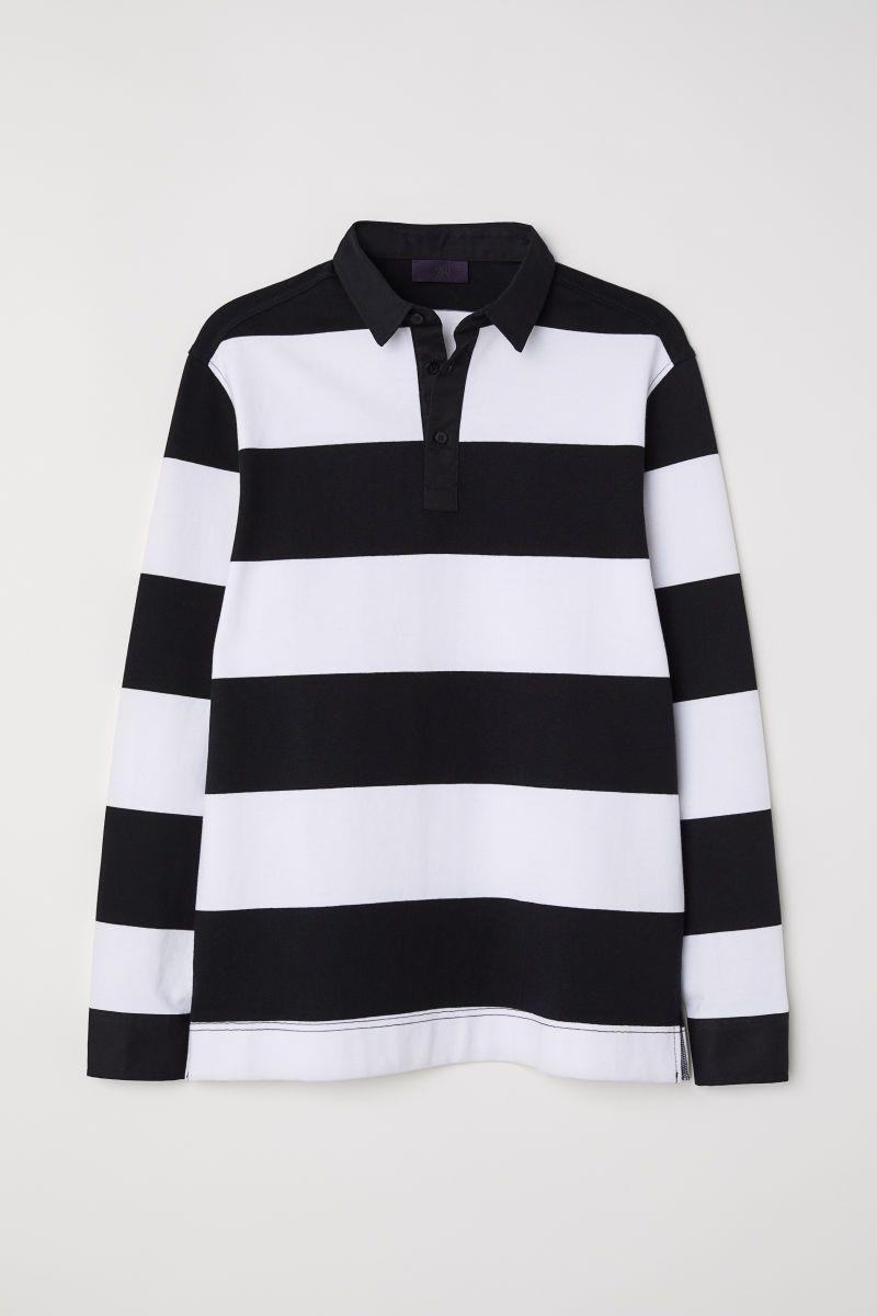 Rugby Shirt White Black Striped Men H M Us Rugby Shirt