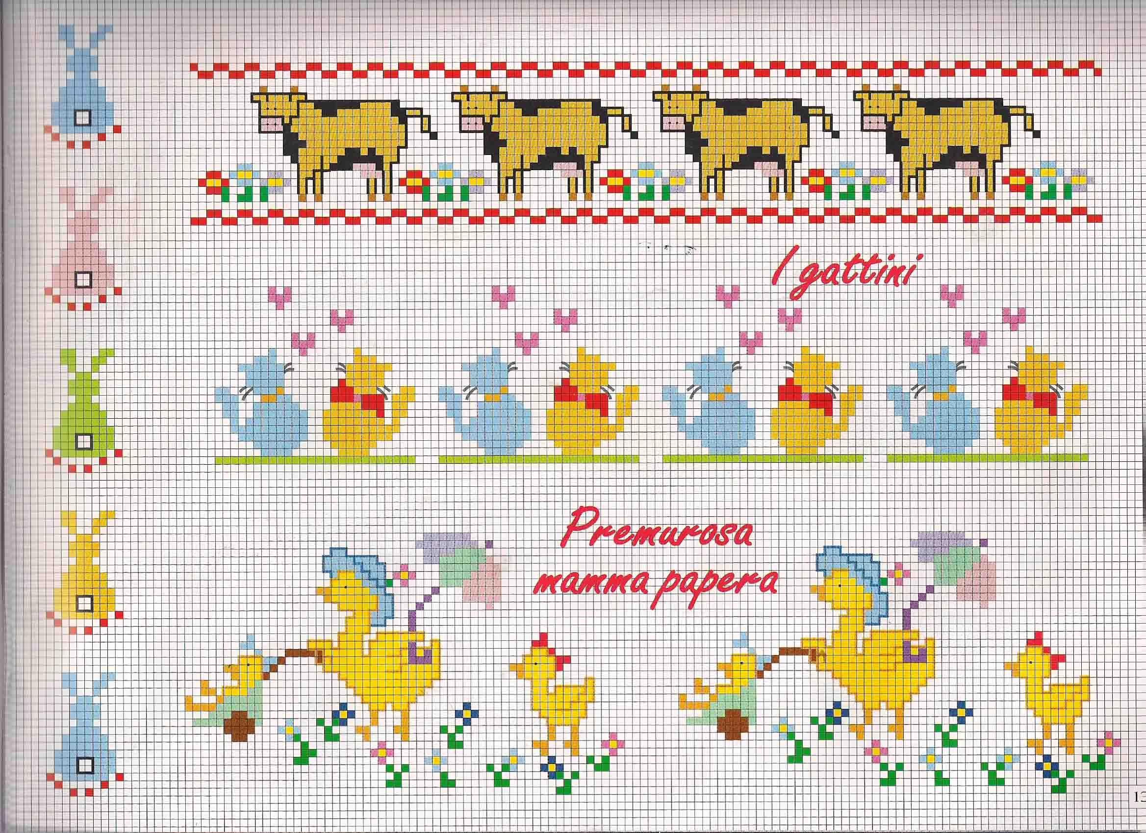 Bordi bimbi con mucche e papere punto for Bordi punto croce