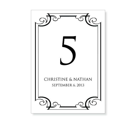 Table number template printable instant download for for Table design numbers