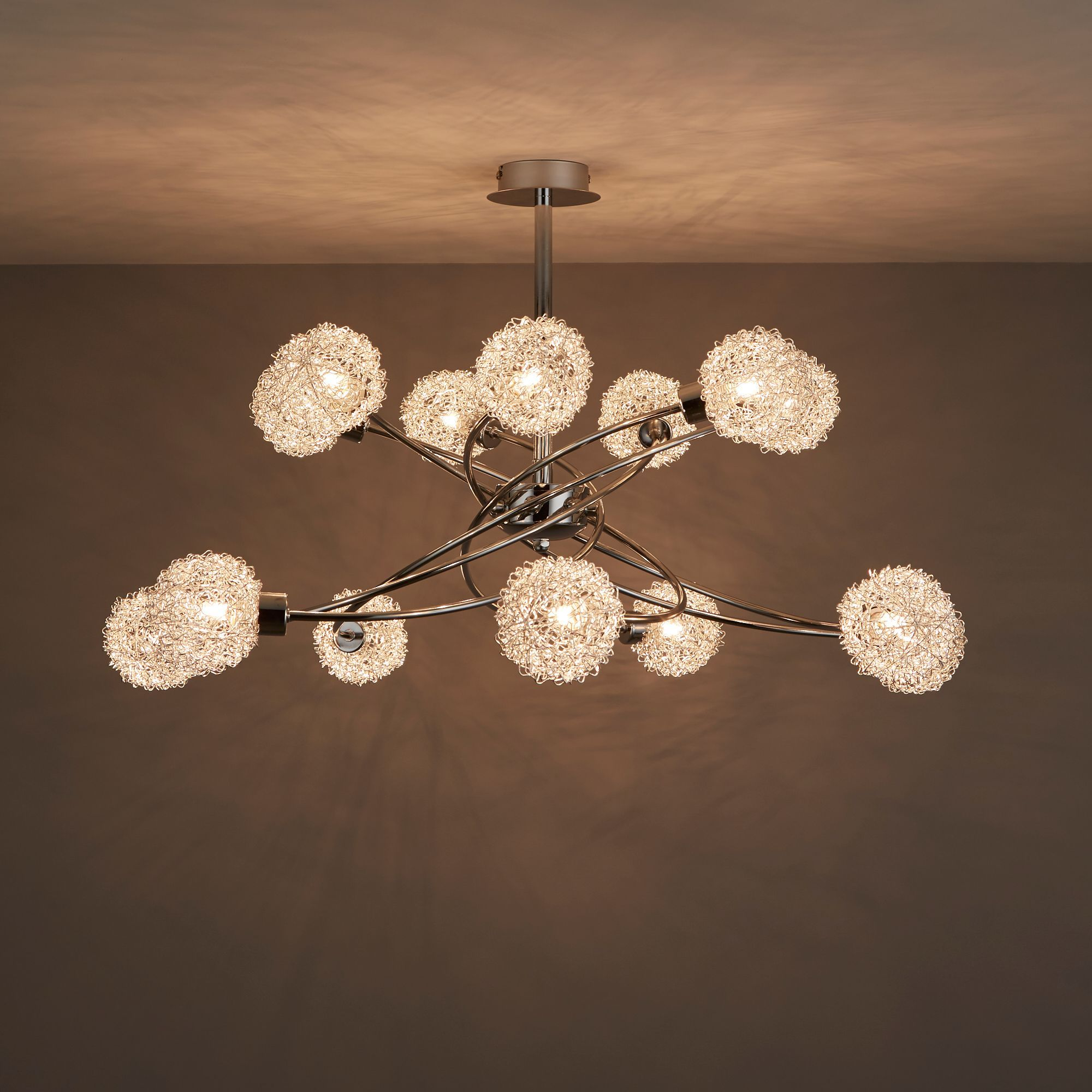 Caelus Chrome Effect 14 Lamp Ceiling Light Bq For All Your Home