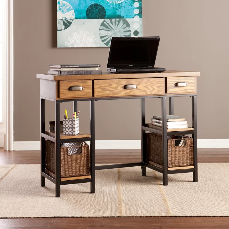 Midville Solid Wood Desk In 2020 Solid Wood Desk Wood Desk Desk