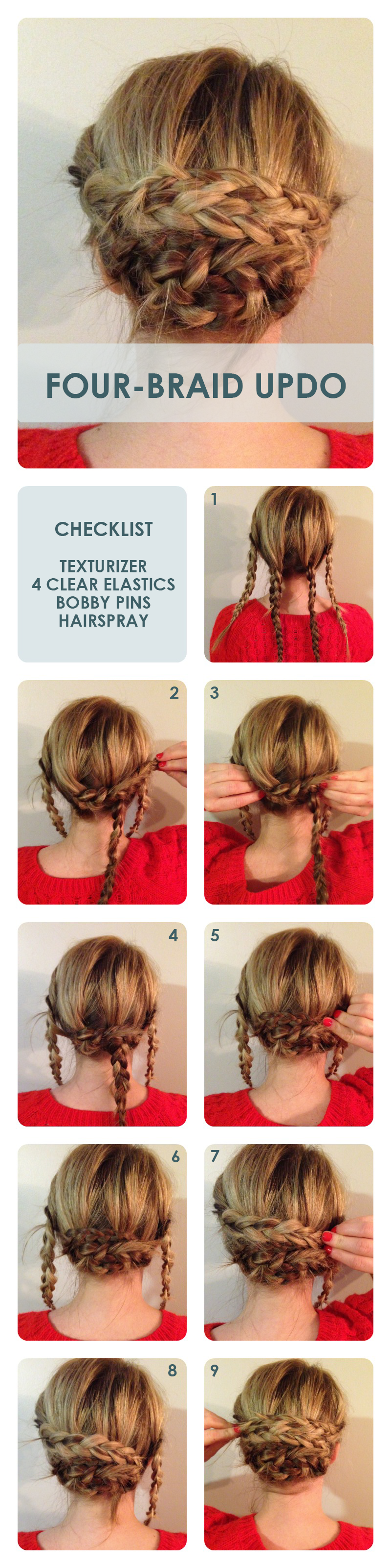 Hub four braided updo hairstyle four braids updo hairstyle