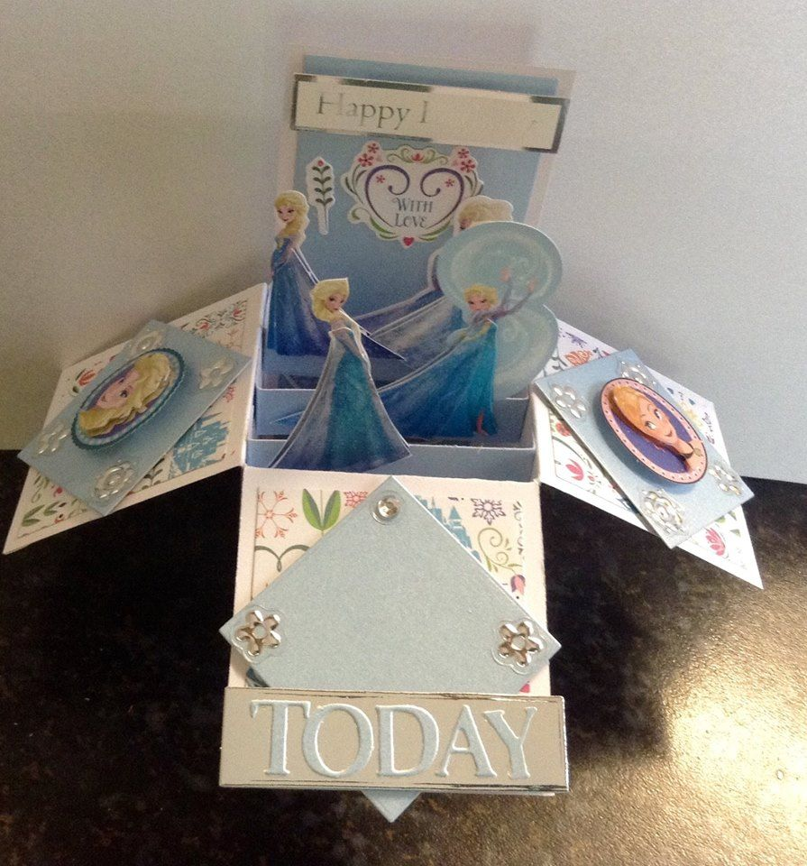 Frozen pop up birthday card just add the age of your choice card