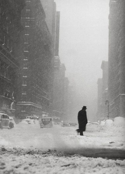 ok - Ted Croner - Little man in snow | From a unique collection of black and white photography at http://www.1stdibs.com/art/photography/black-white-photography/