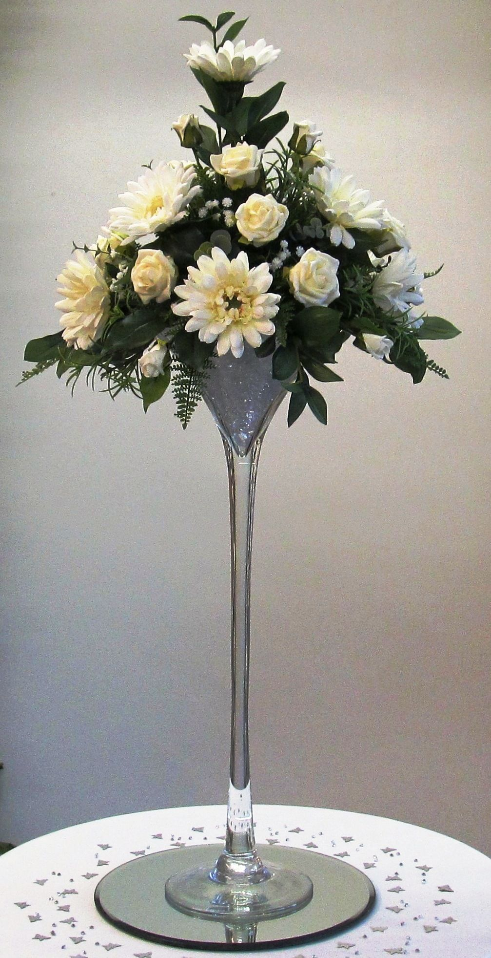 Tall Martini Vase with Ivory Foam Roses  Gerberas.