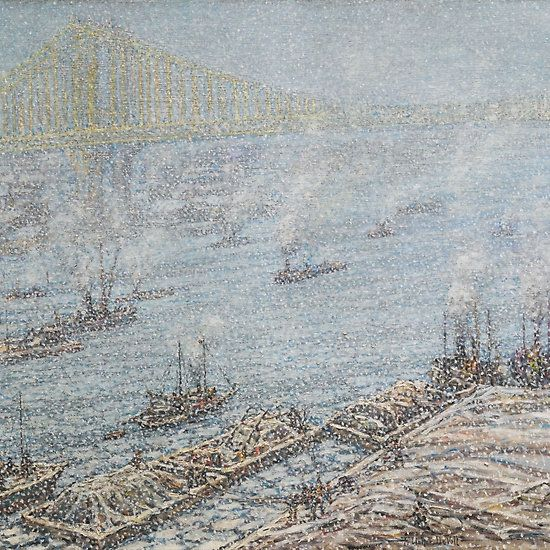 Frederick Usher De Voll  EAST RIVER, NEW YORK, WINTER (FROM BROOKLYN BRIDGE)