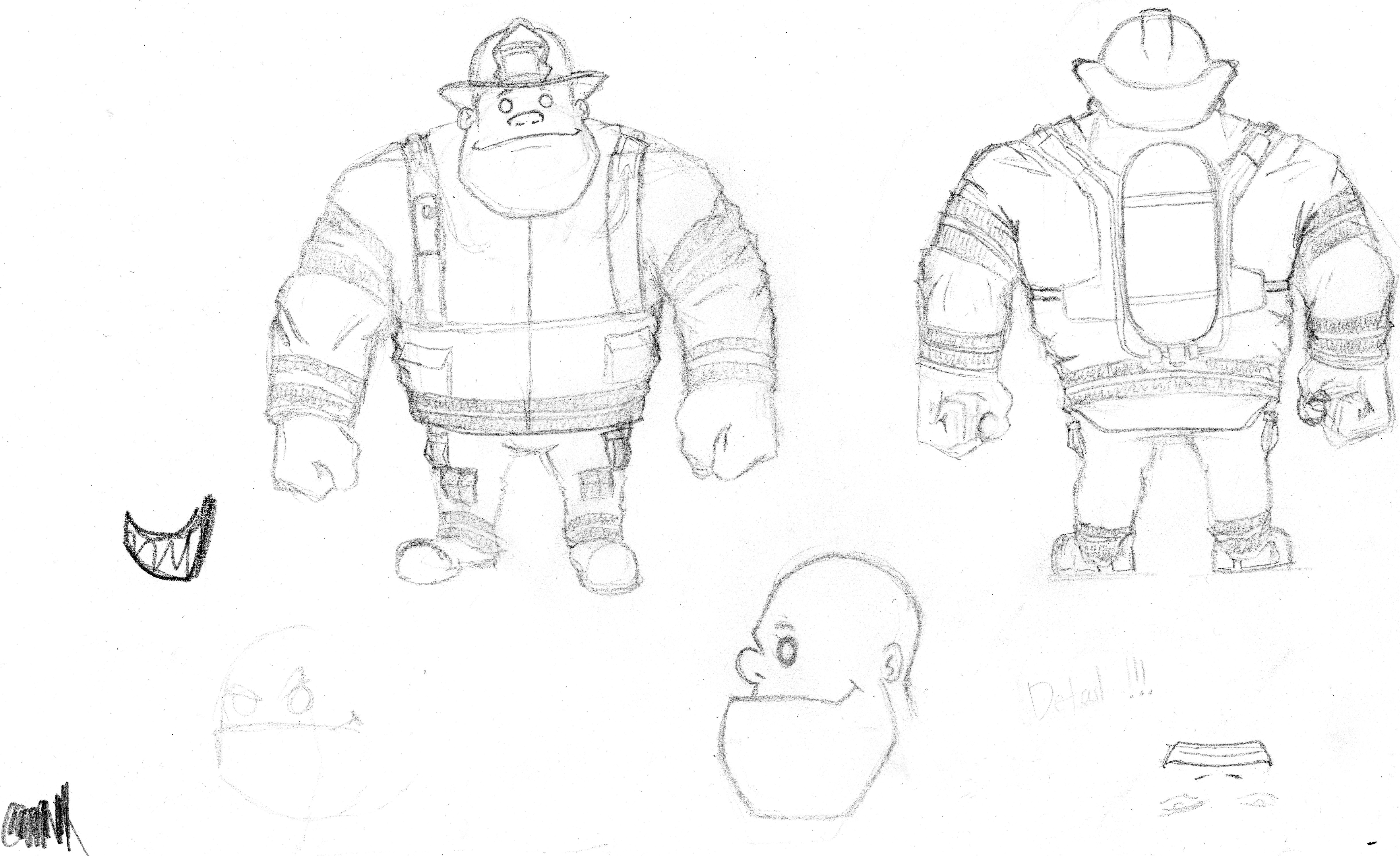 firefighter front and back sketches of our games firefighter