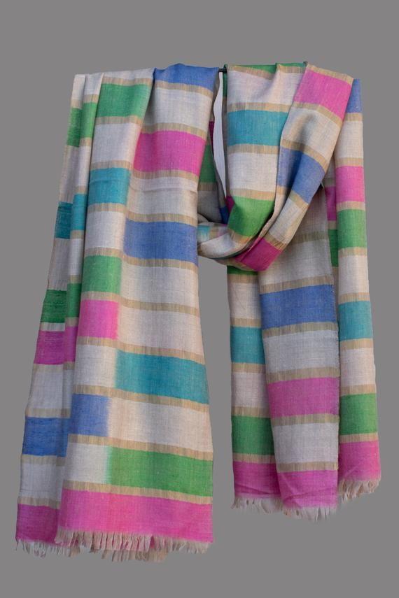 2502b22d1 Multi color Zari Pure Pashmina/Cashmere Scarf/Wrap, Handwoven on Hand loom  in Kashmir, Luxury, Maste