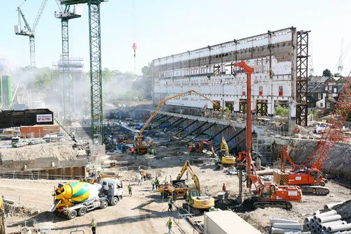 West Stand During Conversion Of Stadium To Apartments Nal Fc Football Stadiums