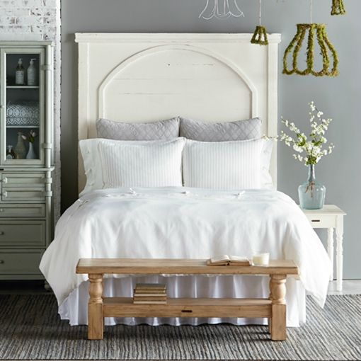 magnolia home by joanna gaines farmhouse passage headboard white curved paneled wood purple rose home