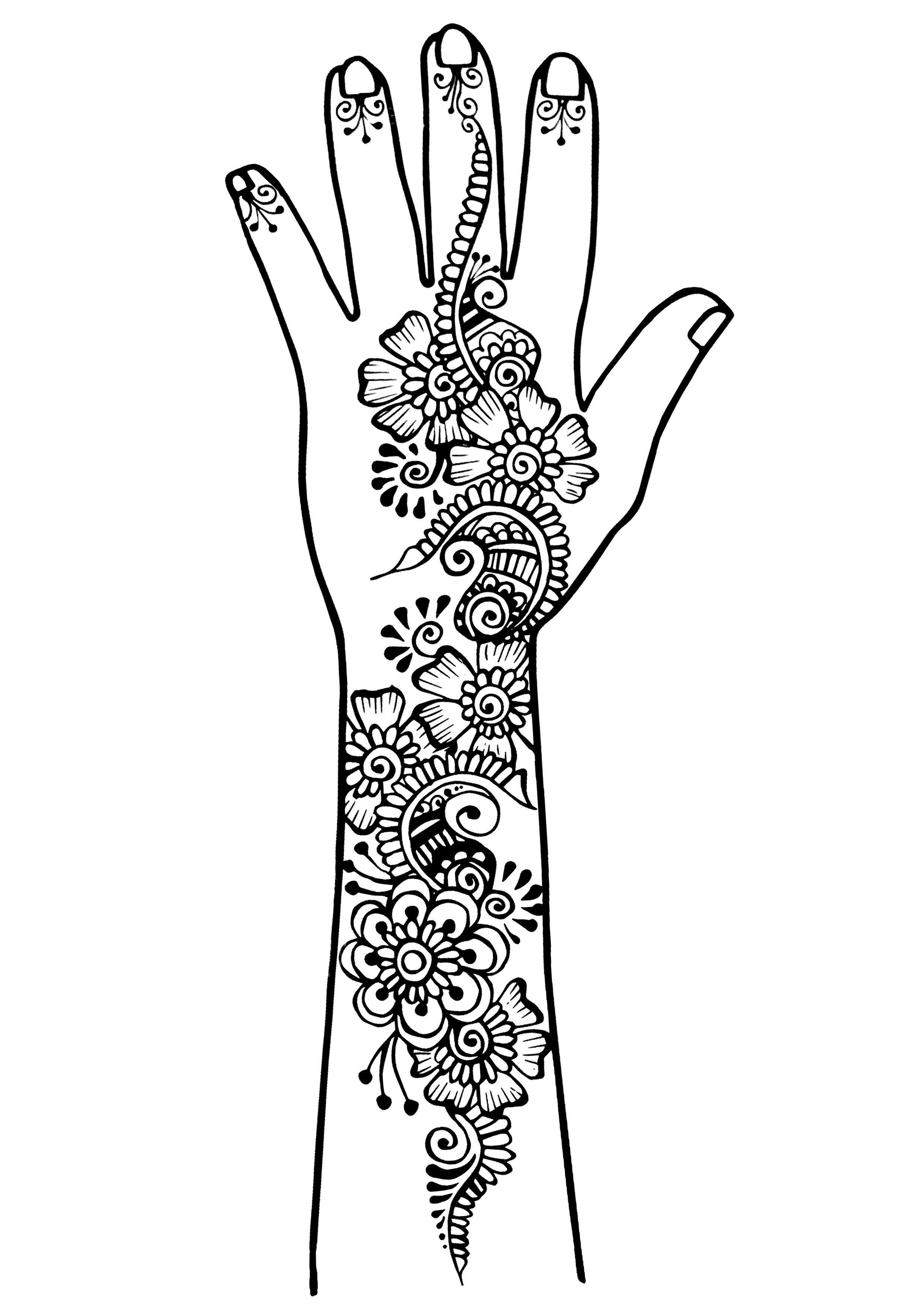tatouage de bras et main style oriental traits fins a partir de la galerie tatoo l minas. Black Bedroom Furniture Sets. Home Design Ideas