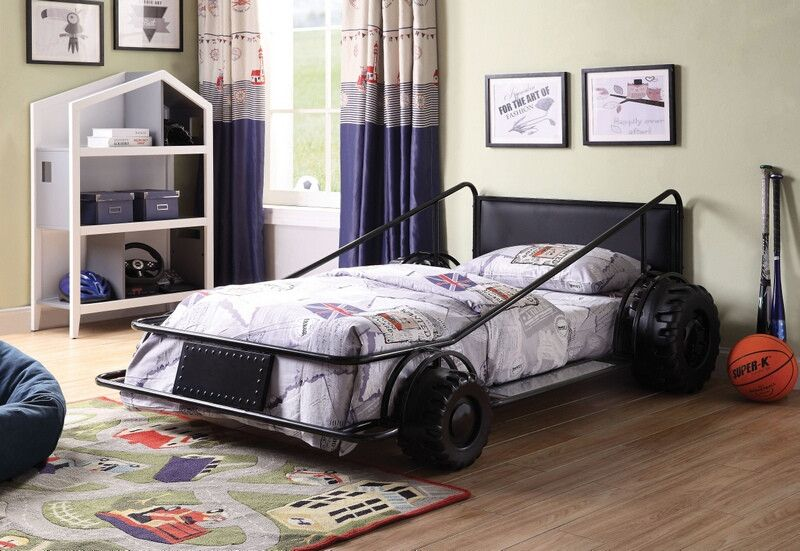 38080t Taban Racer Twin Size Race Car Bed With Tubular Black Metal