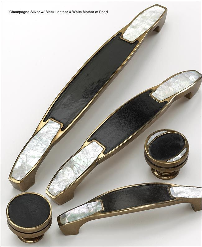 Leather And Solid Br Cabinet Hardware From Symphony Designs By Schaub Art Deco Kitchen