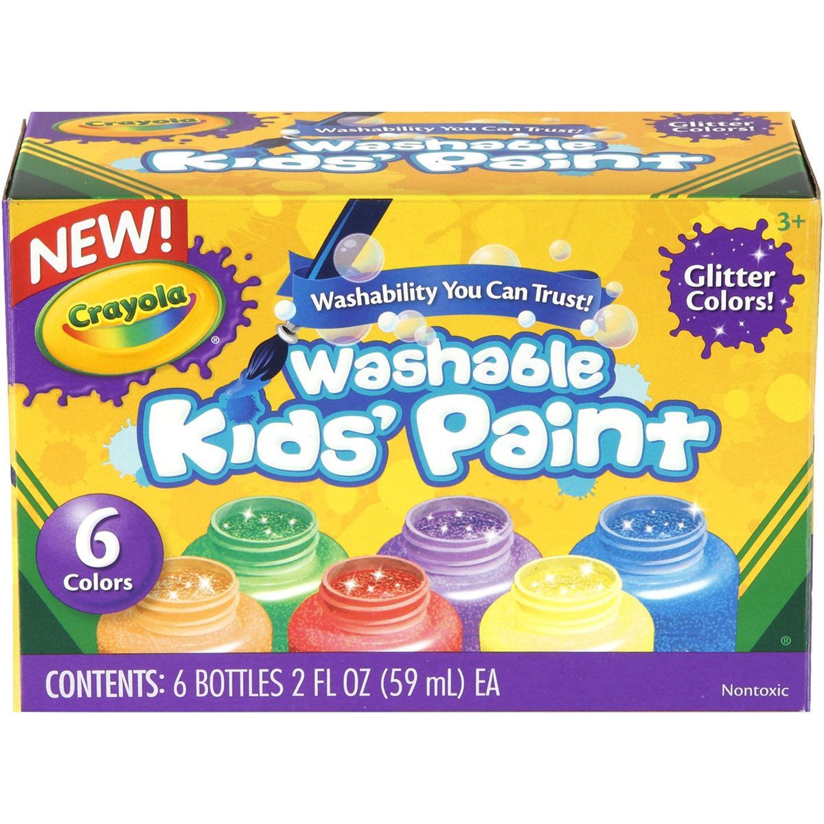 Crayola Washable Glitter Paint 2oz 6/Pkg-