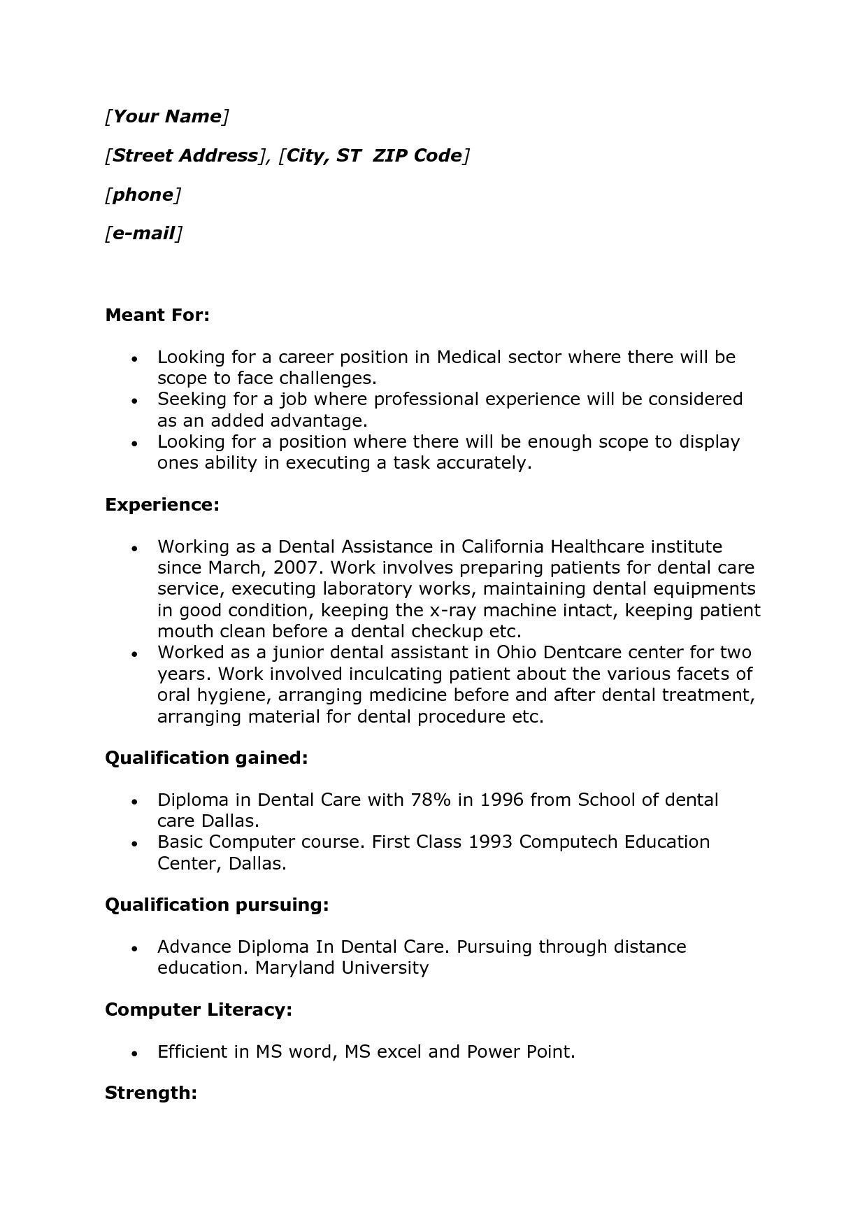 Dental assistant Job Description for Resume Unusual Simple