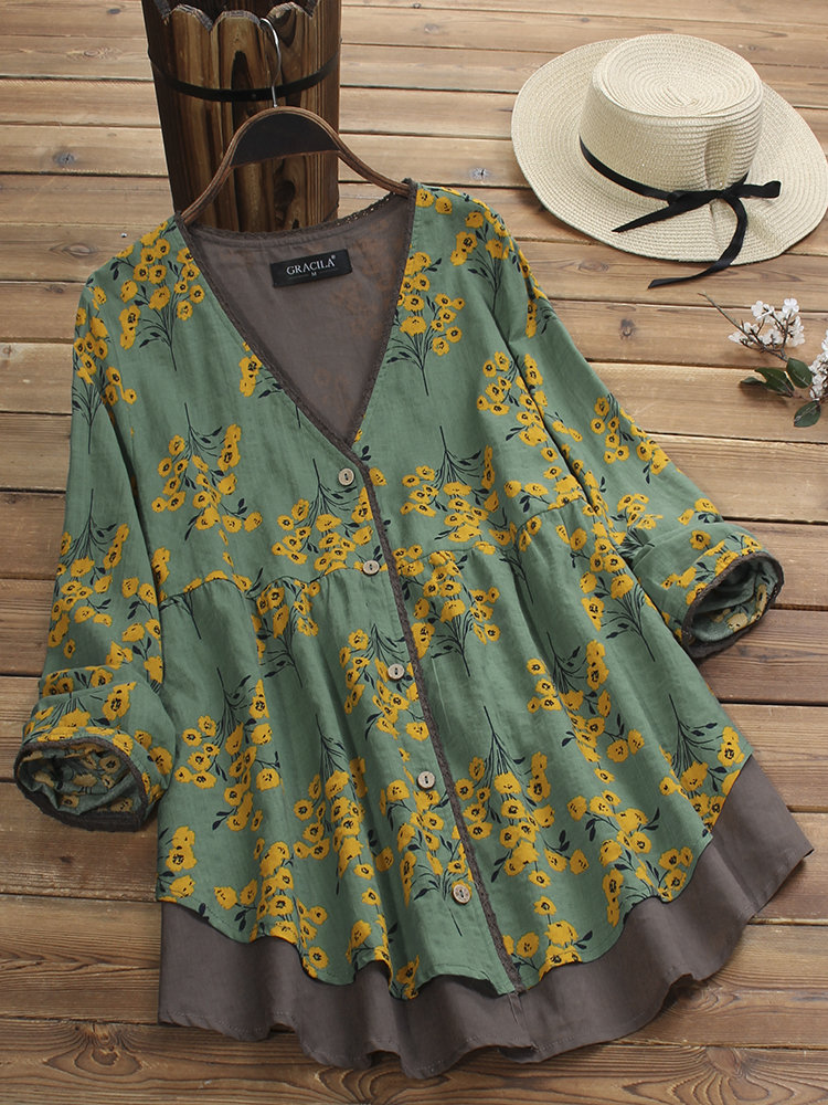 Photo of Gracila Fake Two Pieces Print Patchwork Long Sleeve …