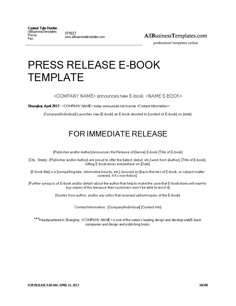 Press Release Ebook Release Download This Press Release Example E Book Release Template And After Press Release Press Release Example Writing A Press Release