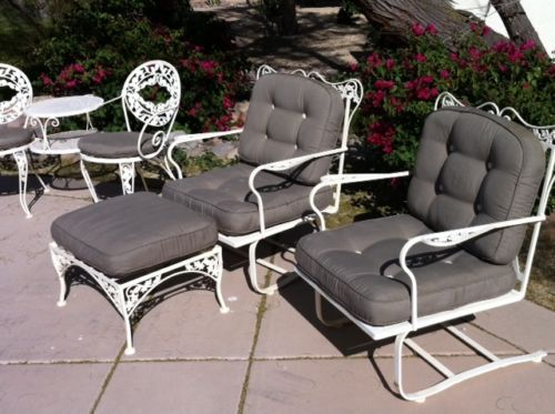Vintage Salterini Woodard Era 14 Piece Wrought Iron Patio Furniture Set