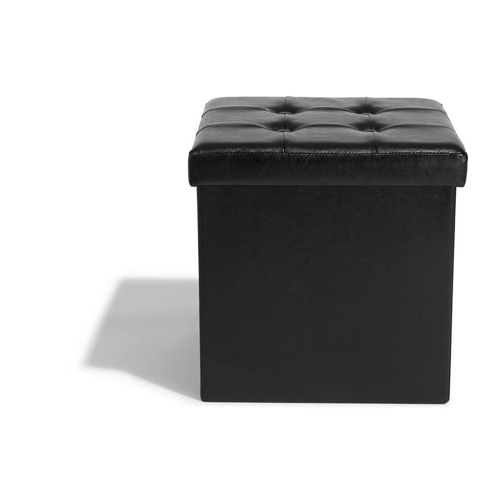 Pouf Avec Coffre Integre Clara Noir Gifi 433040x Meuble Gifi Coffre Pouf