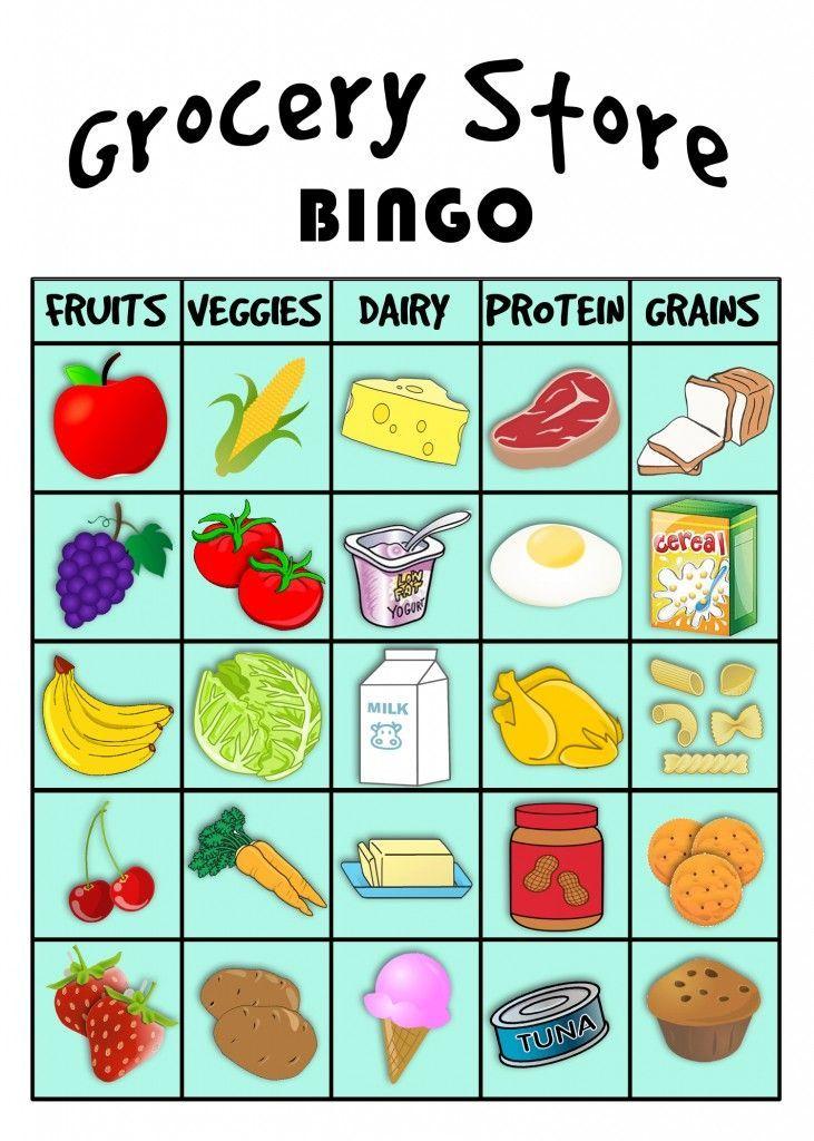 grocery store BINGO! Food groups for kids, Preschool