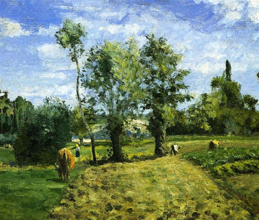 Spring Morning, Pontoise 1874 by Camille Pissarro