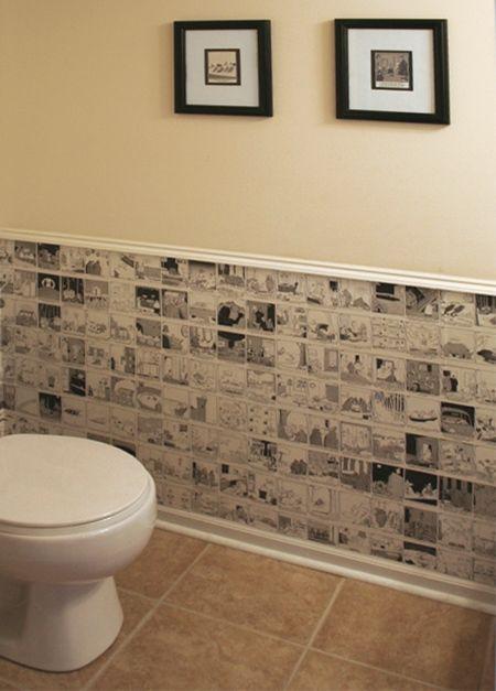 Home Dzine Cartoon Wallpaper For A Guest Toilet Newspaper Wallpaper Wall Wallpaper Guest Toilet
