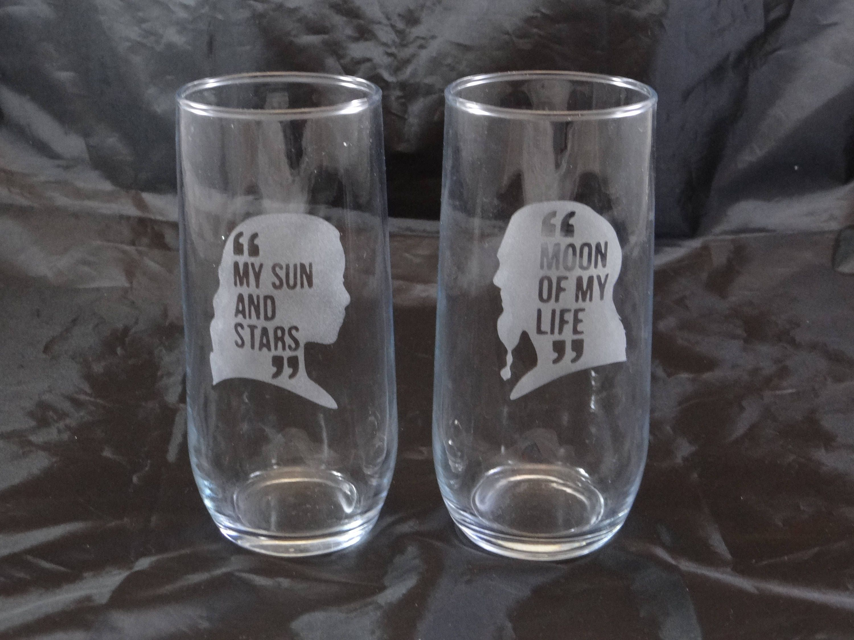 Game Of Thrones Daenerys Targaryen My Sun And Stars Khal Drogo Moon Of My Life Custom Etched Drin Game Of Throne Daenerys Stemless Wine Glass Wine Glass