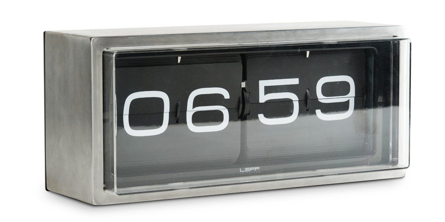 Wall/desk Clock Brick In Stainless Steel By Leff Amsterdam Great Pictures