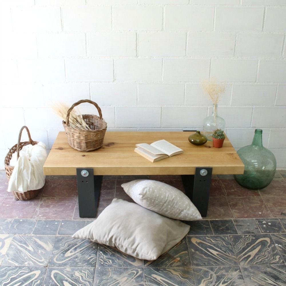 00 Mesa Tv Artesanal Denali Madera Reciclada Hierro Ecofriendly 1  # Muebles De Madera Sostenible