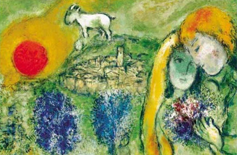 Marc Chagall, Les Amoureux de Vence, 1957 #marcchagall #Marc-Chagall #Chagall http://www.johanpersyn.com/chagall-cubist-colours/